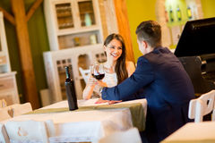 Young couple drinking red wine Royalty Free Stock Image