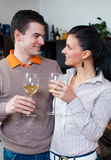Young couple drinking vine Royalty Free Stock Image