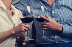Young couple drinking wine. Attractive young couple drinking wine Stock Images