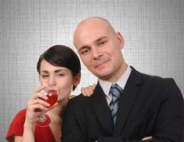 Young couple drinking wine. Stock Photos