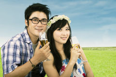 Young couple drinks wine Royalty Free Stock Photography
