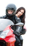 Young couple driving motorbike Royalty Free Stock Photo