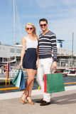 Young couple in duty free shop Royalty Free Stock Photography