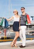 Young couple in duty free shop Royalty Free Stock Image