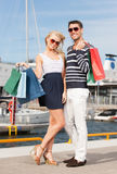 Young couple in duty free shop Stock Image