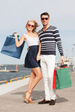 Young couple in duty free shop Royalty Free Stock Photo