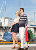 Young couple in duty free shop Stock Images