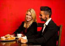 Young couple eat sea food dinner at restaurant and drink wine Royalty Free Stock Image