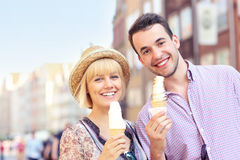 Young couple eating ice-cream Royalty Free Stock Image