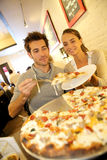 Young couple eating in italian restaurant in nyc stock photo