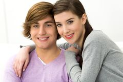 Young couple embracing Stock Photos