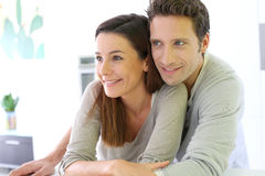 Young couple embracing each other at home Royalty Free Stock Photos