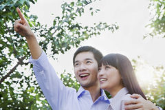 Young Couple Embracing and Pointing Stock Photo