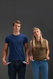 Young Couple With Empty Pockets And No Money Royalty Free Stock Photo