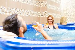 Young couple enjoy and relax in spa center Royalty Free Stock Photography