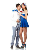 Young couple enjoy roleplay in sailor uniform. Young sexy couple enjoy roleplay in sailor uniform. Full body shot. Isolated on white background. High resolution Stock Photos