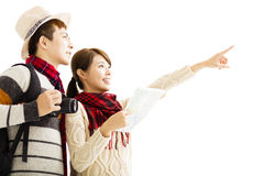 Young couple enjoy travel with autumn wear Stock Photography