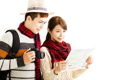 young couple enjoy travel with autumn wear Stock Photo