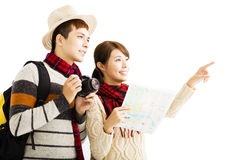Young couple enjoy travel with autumn wear Royalty Free Stock Photos