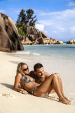 Young couple enjoying the beach Stock Images