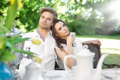 Young couple enjoying coffee Stock Photo