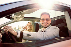Young couple enjoying the drive Royalty Free Stock Image