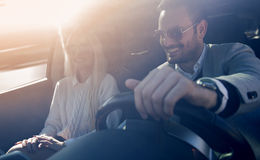 Young couple enjoying the drive Royalty Free Stock Photography