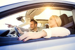 Young couple enjoying the drive Stock Image