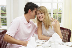 Young Couple Enjoying Hotel Meal Stock Image