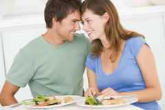 Young Couple Enjoying Meal Royalty Free Stock Photography