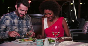 Young Couple Enjoying Meal At Rooftop Restaurant stock footage