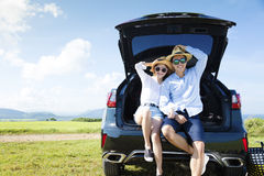 Young couple enjoying road trip and summer vacation Stock Photography