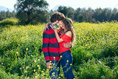 Young couple enjoying a romantic kiss Royalty Free Stock Image
