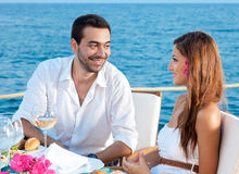 Young couple enjoying a romantic meal Royalty Free Stock Images