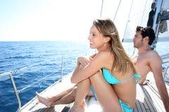 Young couple enjoying sailing cruise Stock Images