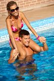 Young couple enjoying summer holiday smiling Stock Photo