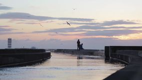 Young couple enjoying sunset at breakwater pier with lighthouse. stock footage
