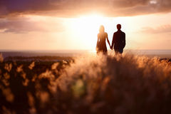 Young couple enjoying the sunset Royalty Free Stock Photo