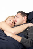 Young couple enjoying sweet dreams Stock Photos