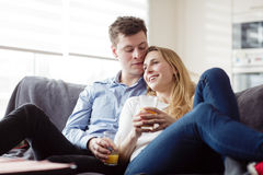 Young couple enjoying themselves Royalty Free Stock Images