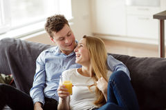 Young couple enjoying themselves stock image