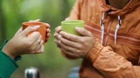 Couple On Vacation Drinking Tea stock video footage