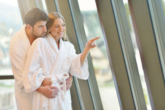 Couple enjoying wellness weekend and spa. Young Couple enjoying wellness weekend and spa stock images
