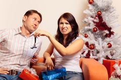 Young Couple Exchanging Christmas Gifts Royalty Free Stock Photo