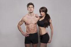 Young couple exercise together Royalty Free Stock Images