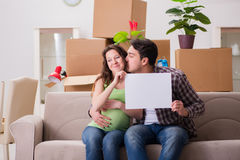 The young couple expecting baby with blank message Royalty Free Stock Images