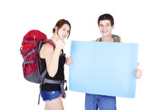 Young couple in expedition. Royalty Free Stock Image