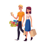 Young couple, family, man and woman shopping together Royalty Free Stock Images