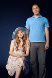 Young couple family portrait with pregnant woman Royalty Free Stock Photos