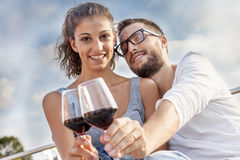 Young couple farmers toasts in their vineyard Royalty Free Stock Photo